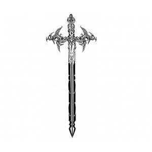 Stylish Sword Tattoo Stencil