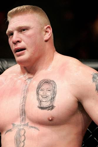 Sword And Celebrity Portrait Tattoos On Chest Of Brock Lesnar