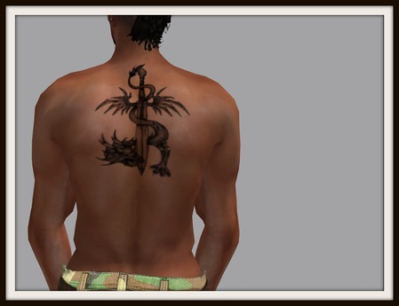 Sword And Dragon Tattoo Design For Men Back