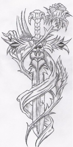 Sword And Flower Tattoos Drawing