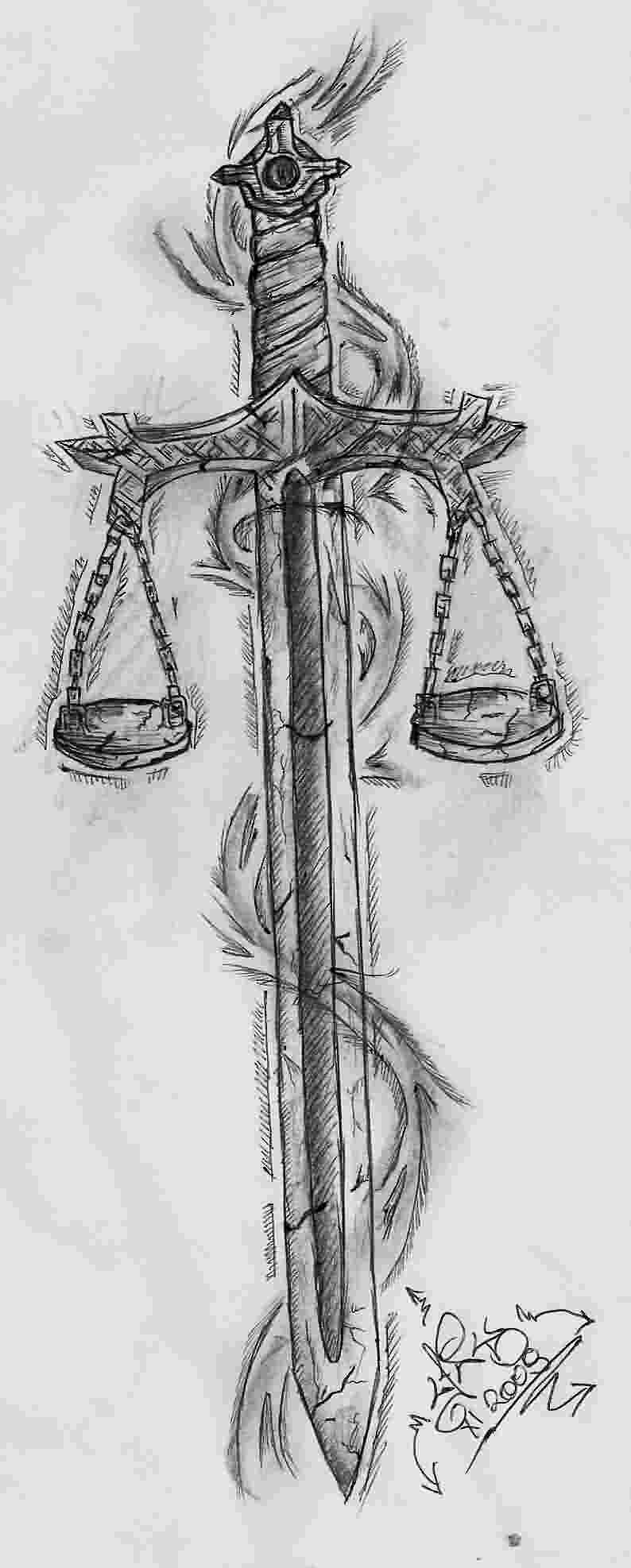 Sword And Justice Scale Tattoos Sketch