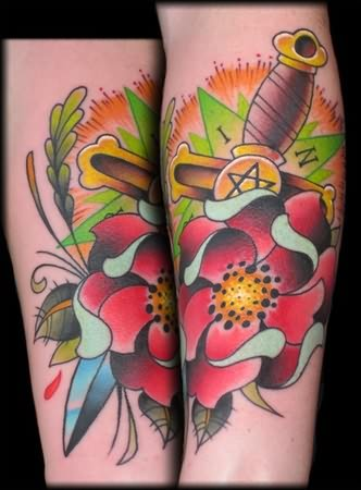 Sword And Red Rose Tattoos
