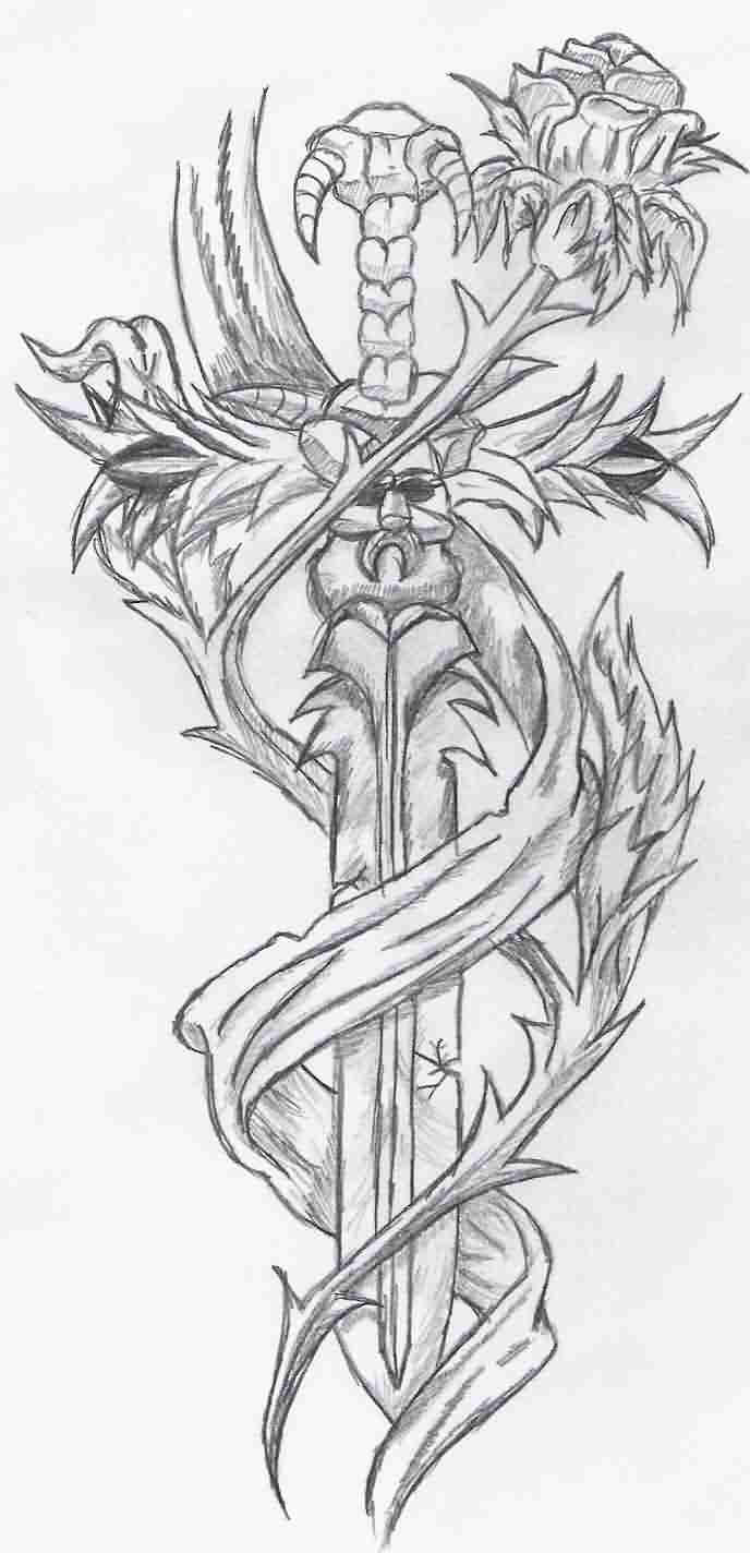 Sword And Rose Tattoos Sketch