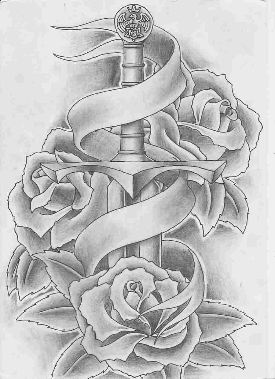 Sword And Roses Tattoos Sketch