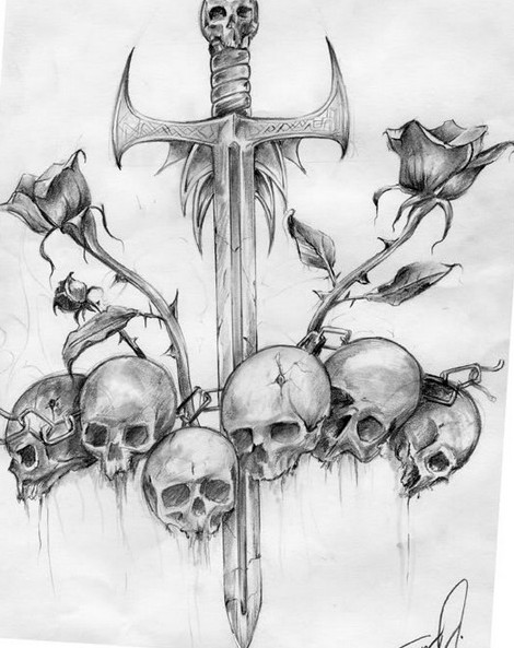 Sword And Skull Tattoos Drawing