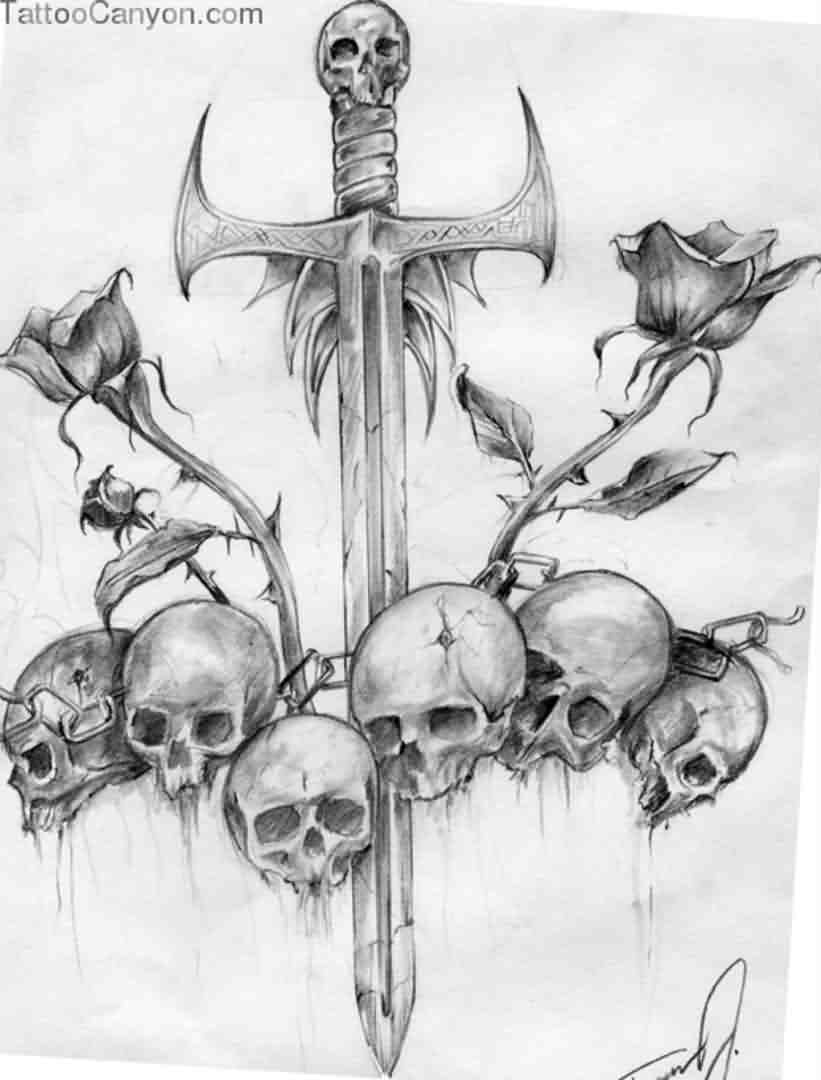 Sword And Skulls Tattoos Sketch