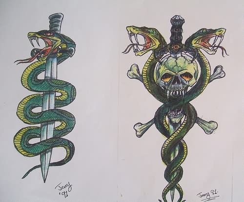 Sword And Snake Tattoo Designs