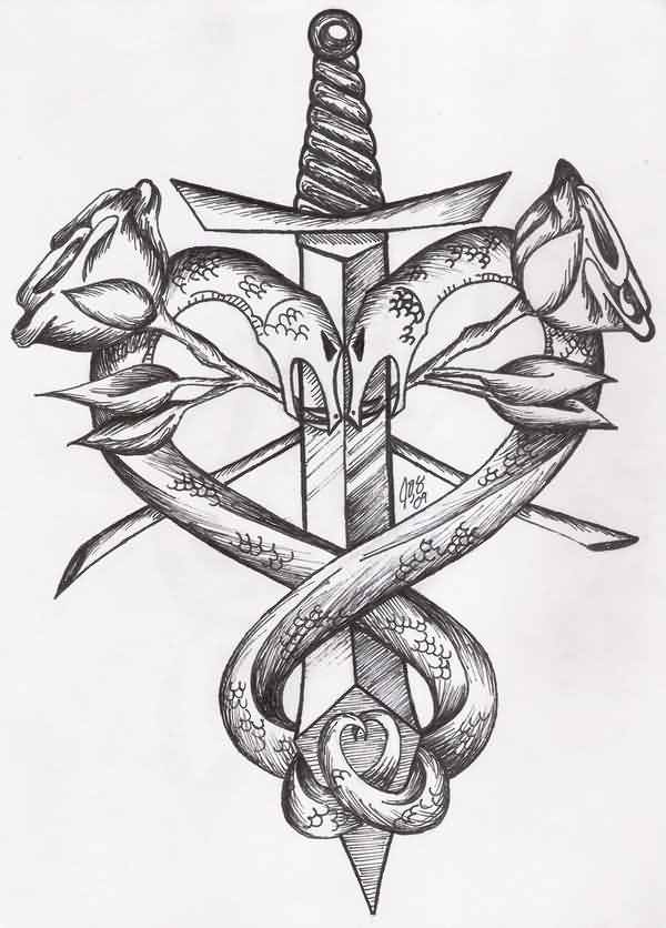 Sword And Snakes Heart Tattoo Design