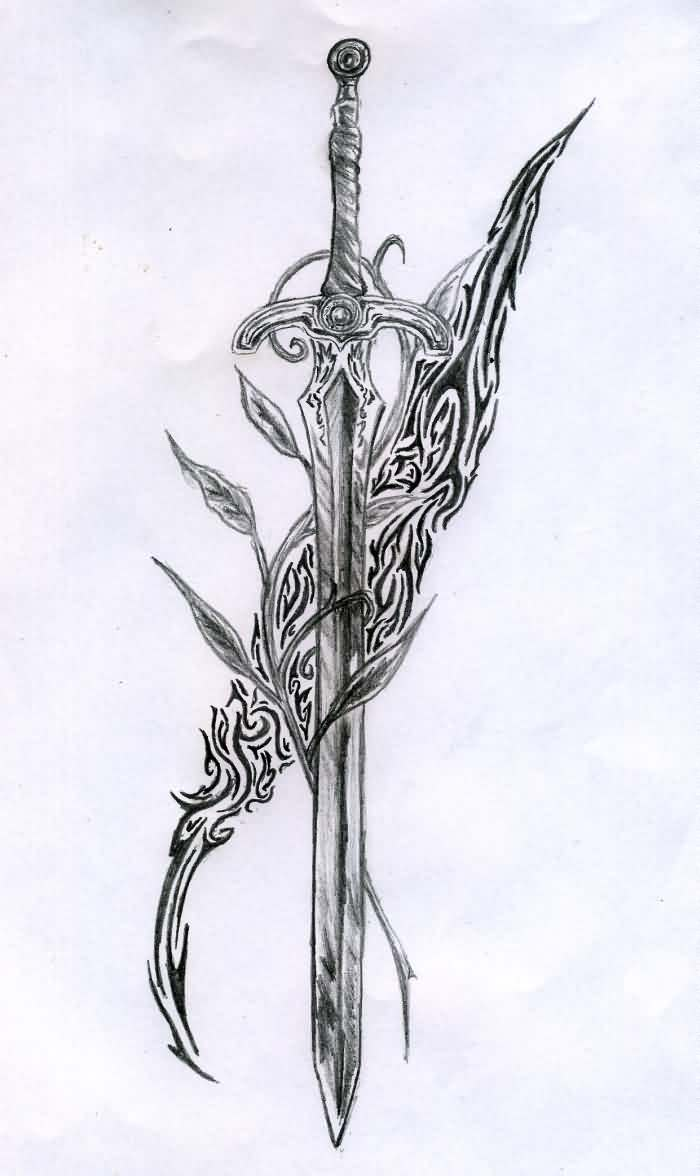 Sword And Tribal Tattoos Sketch