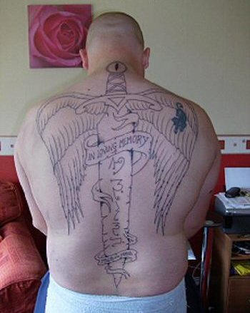 Sword And Wings Back Piece Tattoo