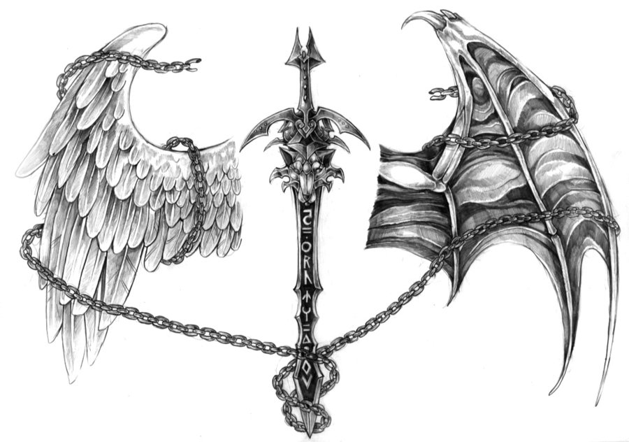 Sword And Wings Tattoo Design