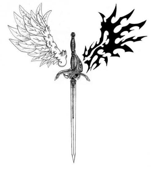 Sword And Wings Tattoos Stencil