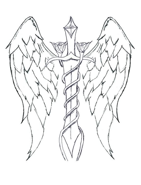 Sword And Wings Uncolored Tattoos Sample