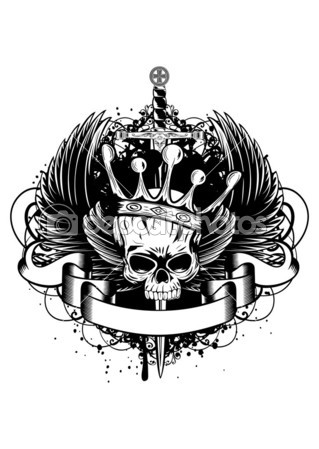 Sword Crown Skull And Wings Tattoo Design
