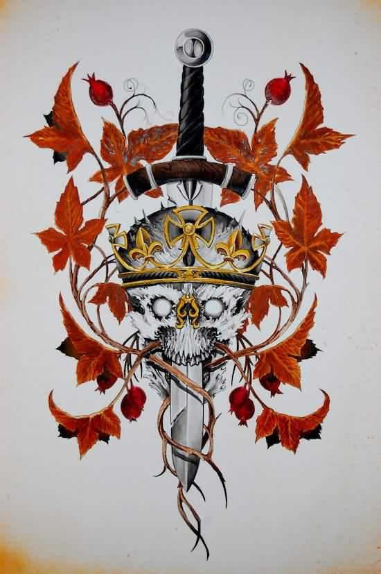 Sword In Crowned Skull Tattoo Print