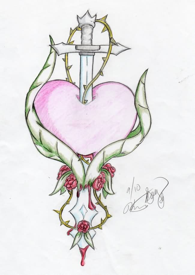 Sword In Heart And Rose Vine Tattoo Design