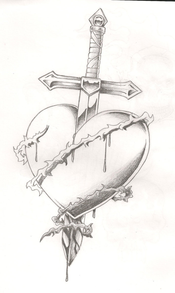 Sword In Heart Tattoo Sketch