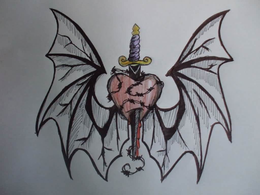 Sword In Heart With Wings Tattoo Design