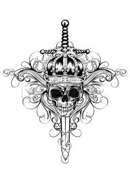 Sword In King Skull Tattoo Model