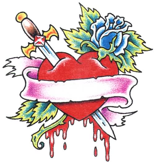 Sword In Red Heart And Blue Rose Tattoo Design