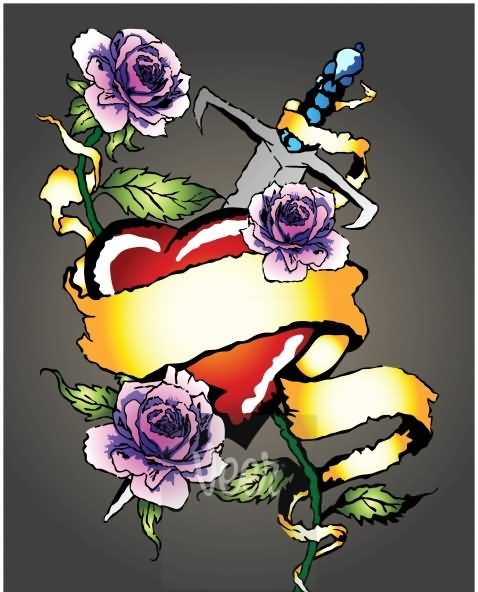 Sword In Red Heart And Color Rose Tattoo Designs