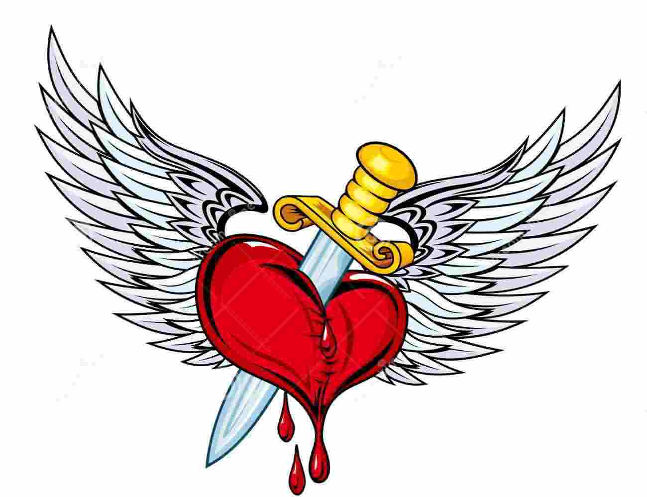 Sword In Red Heart And Wings Tattoo Design