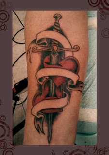 Sword In Red Heart Tattoos
