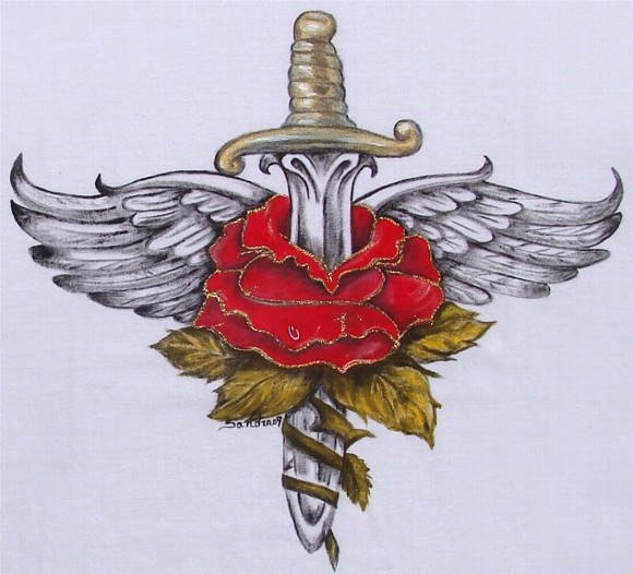 Sword In Rose And Wings Tattoo Print