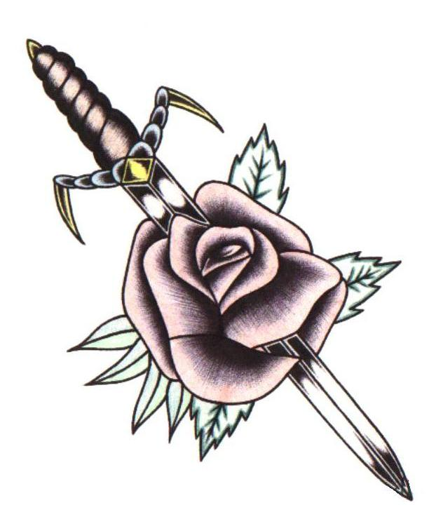Sword In Rose Tattoo Design