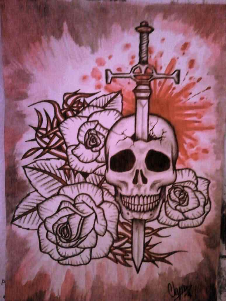 Sword In Skull And Rose Tattoos Print