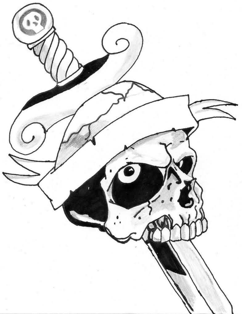 Sword In Skull Tattoo Design