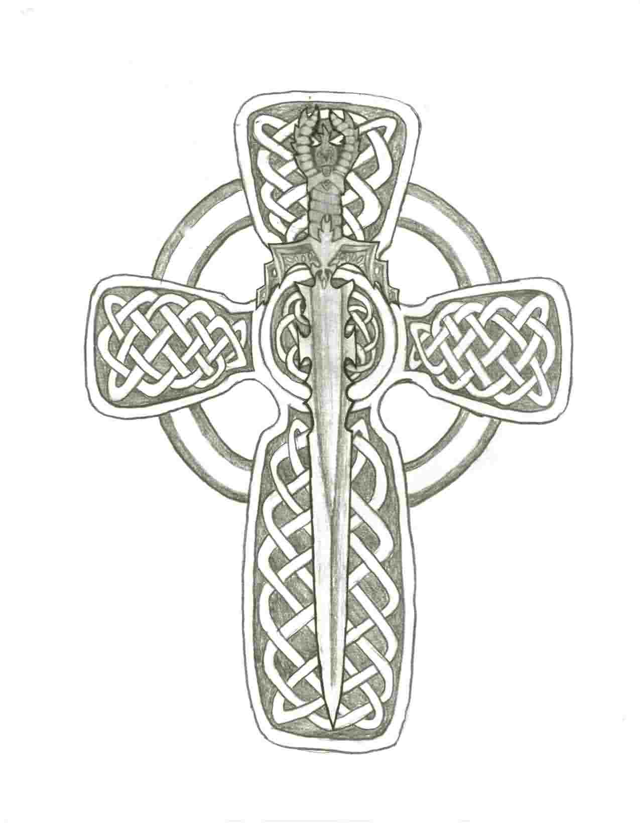 Sword In The Middle Of Cross Tattoo Sketch