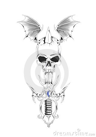Sword In Winged Skull Tattoo Design
