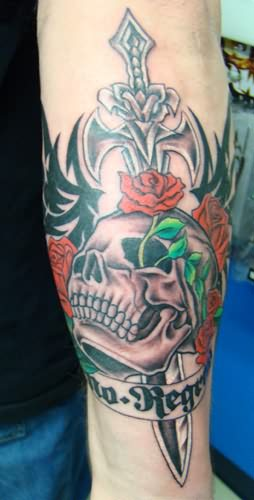 Sword Skull And Tribal Tattoos