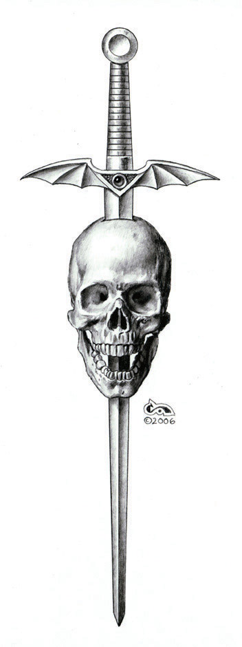 Sword Skull Tattoo Drawing
