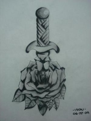 Sword Through A Rose Tattoo Design