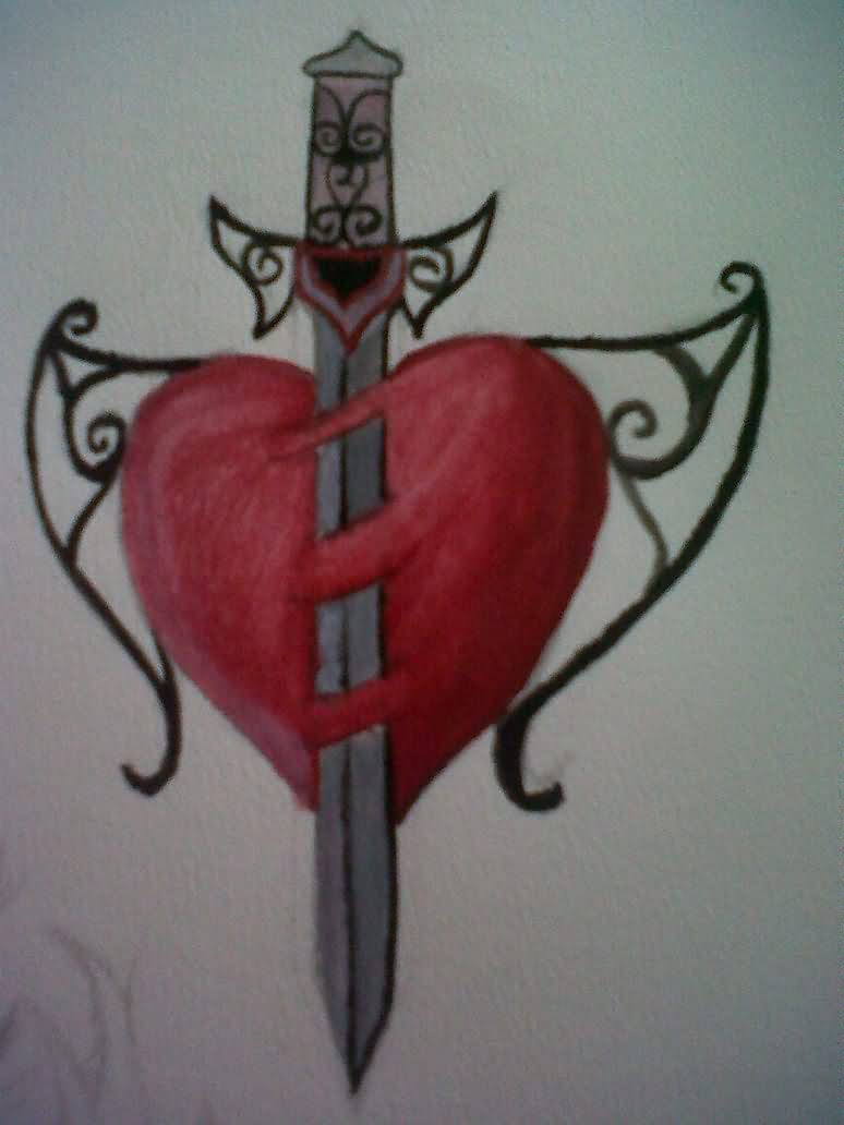 Sword Through Red Heart Tattoo Design