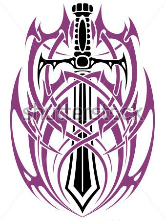 Sword Tribal Tattoo Stencil