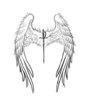 Sword With Angel Wings Tattoo Design
