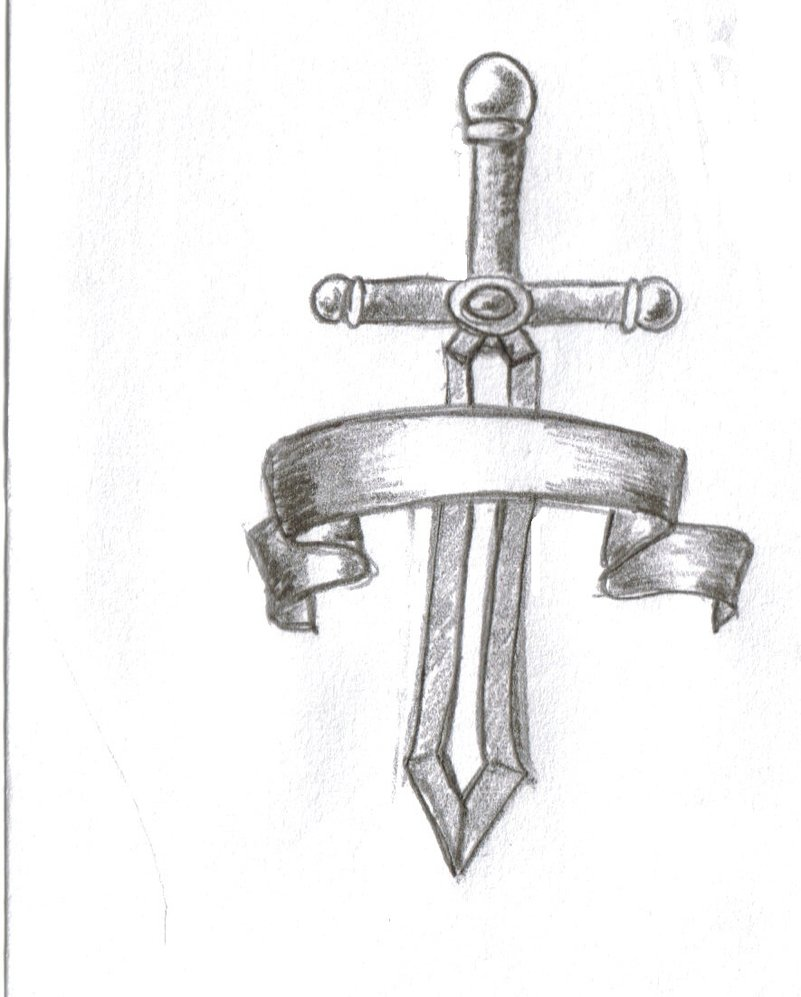 Sword With Banner Tattoo Sketch