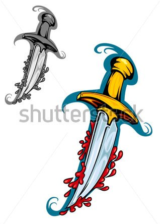 Sword With Blood In Cartoon Style For Tattoo Design