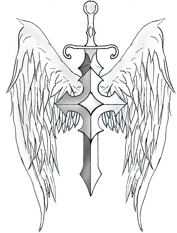 Sword With Wings Tattoo Design