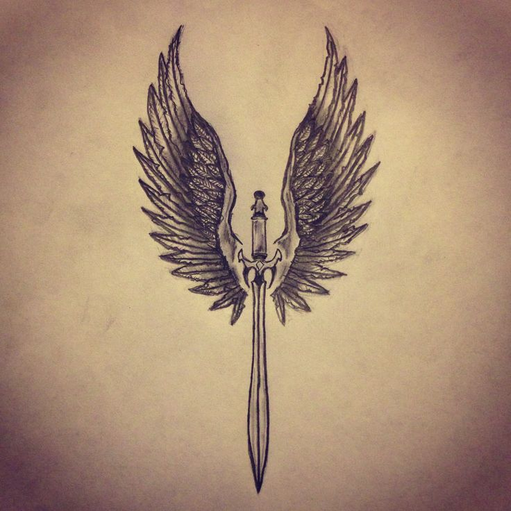 Sword With Wings Tattoo Sketch
