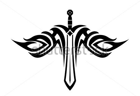 Tattoo Design Of A Sharp Sword With Flowing Wings In Tribal Style