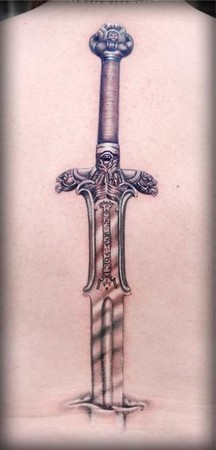 The Best Sword Tattoo On The Spine