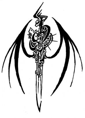 The Best Tribal Sword Tattoo Stencil