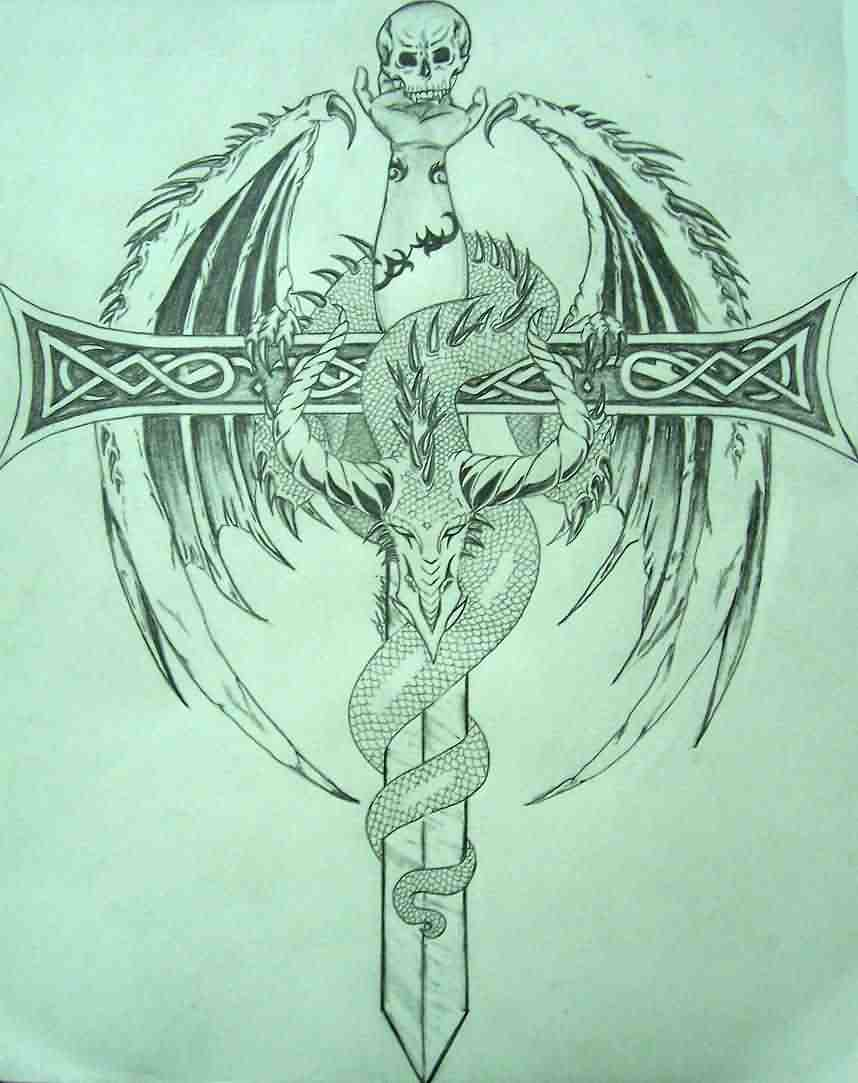 The Dragon And The Sword Tattoo Design