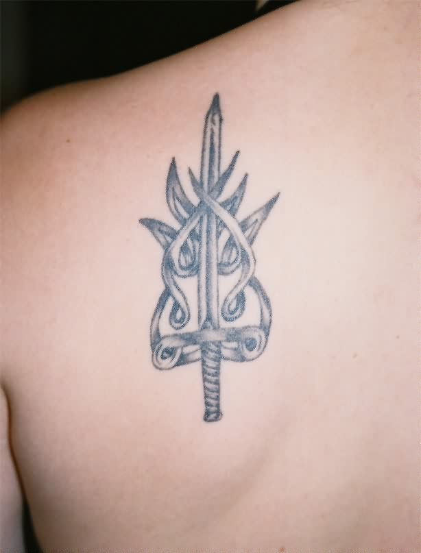 The Incredible Sword Tattoo On Back Of Shoulder
