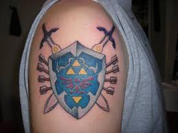 The Incredible Swords And Shield Tattoos On Shoulder