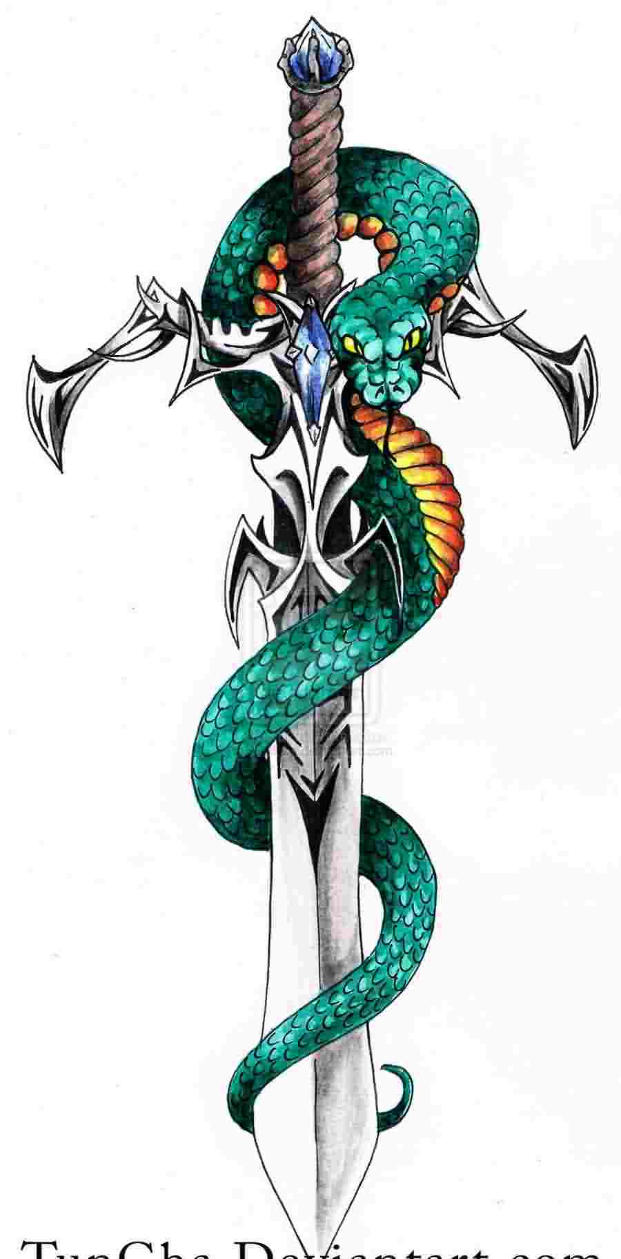 The Snake Sword Tattoo Design